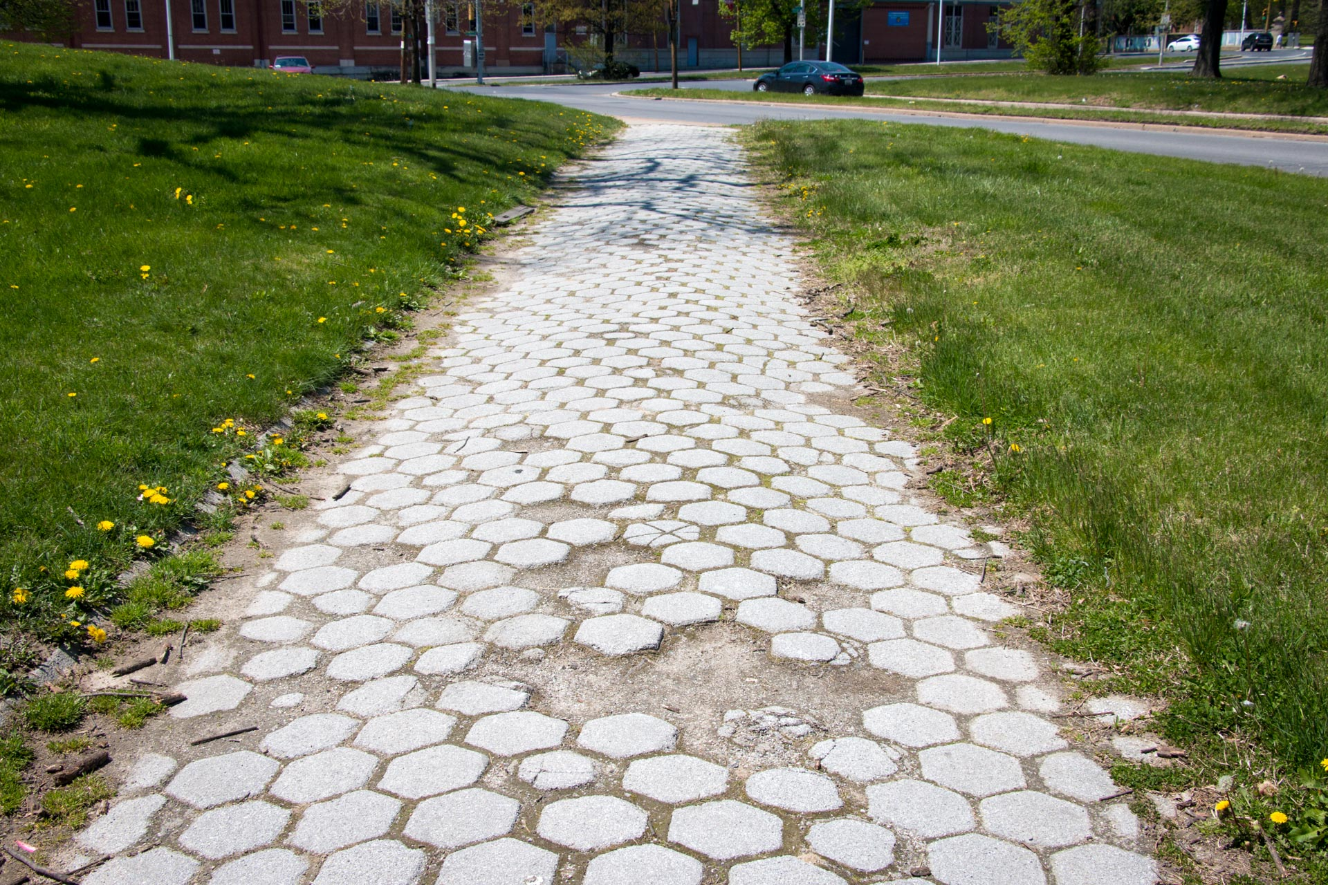 180501 Druid Hill Park pedestrian access conditions 07 historic sidewalk broken tiles