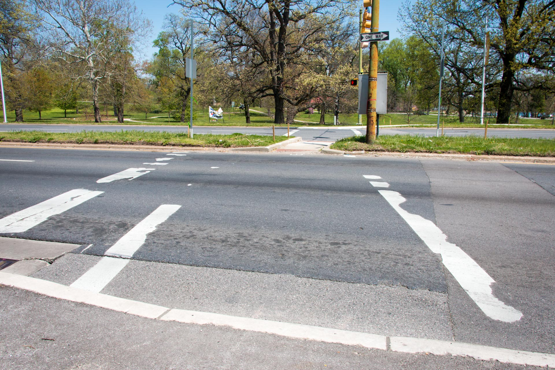 180501 Druid Hill Park pedestrian access conditions 10 Auchentoroly & Fulton broken crosswalk