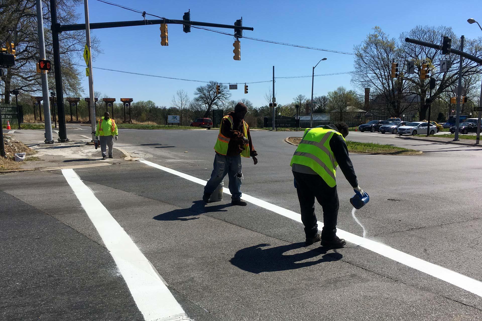 Auchentoroly Gwynns Falls crosswalk repair