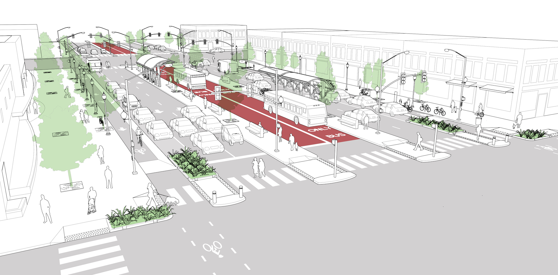 NACTO design guide boulevard center running bus lanes with protected curb cycle track