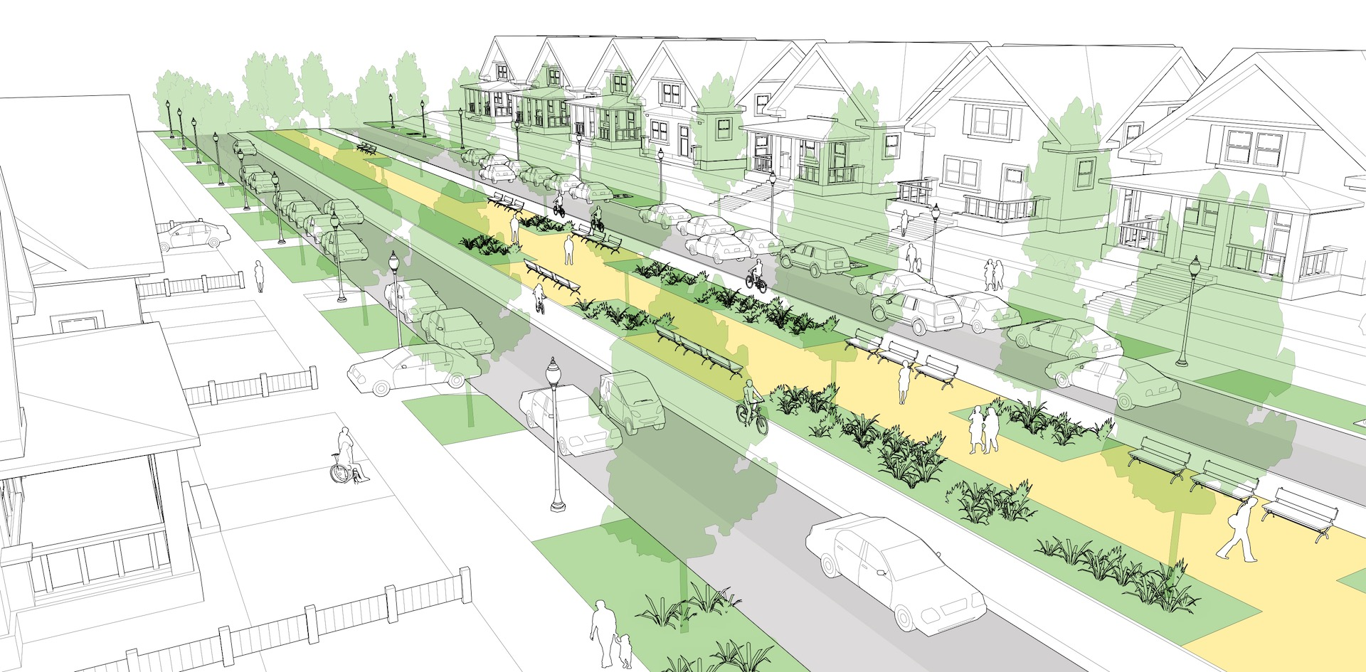 NACTO design guide residential boulevard with center running shared-use path on median