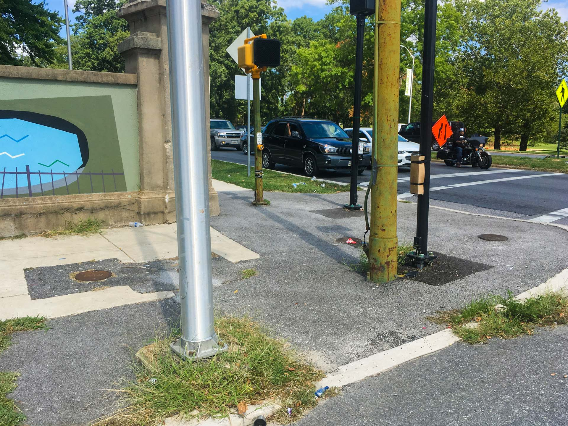 Unfinished sidewalk ramps at Druid Hill and Fulton Avenues