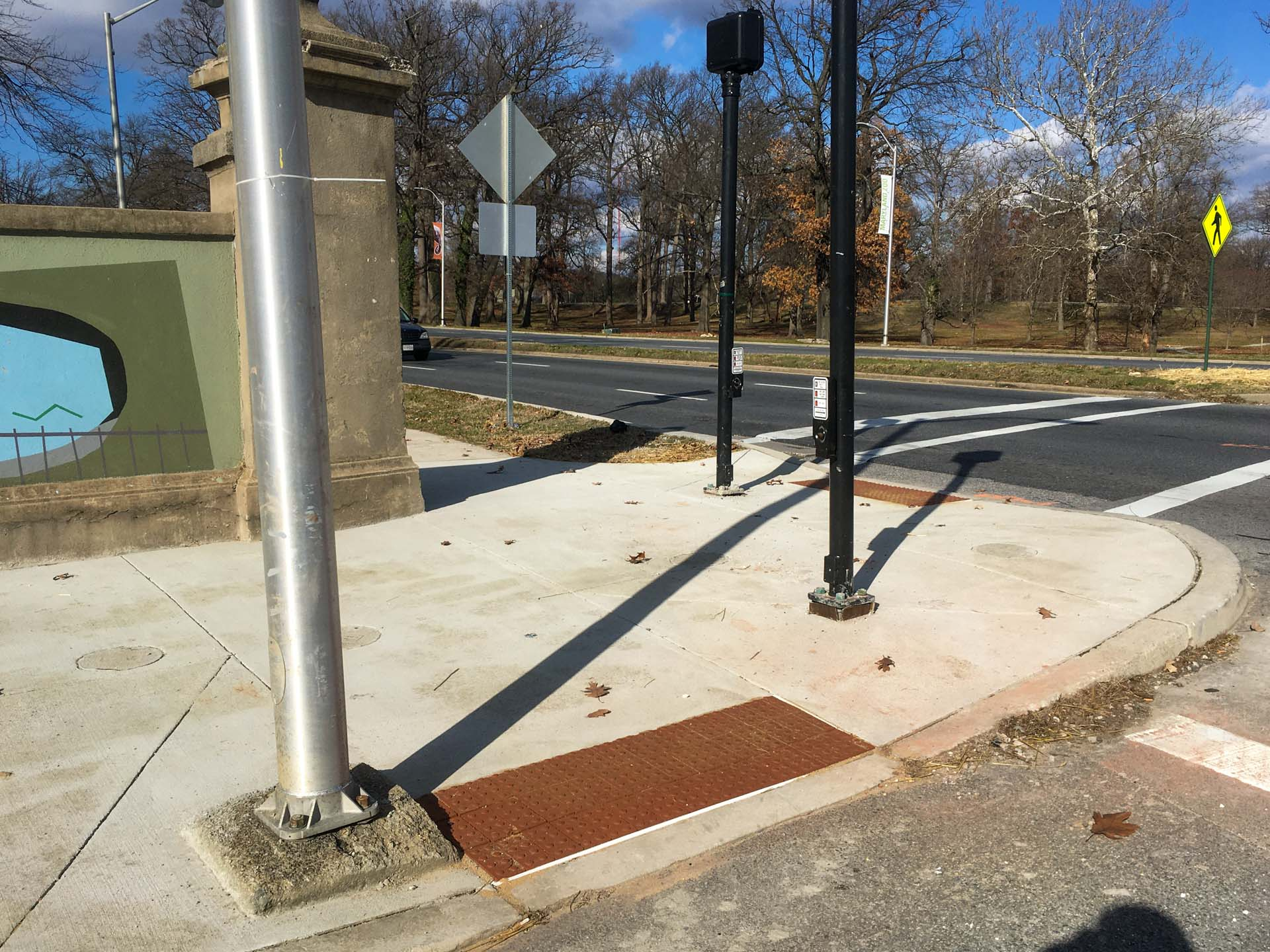 Completed sidewalk ramps at Druid Hill and Fulton Avenues