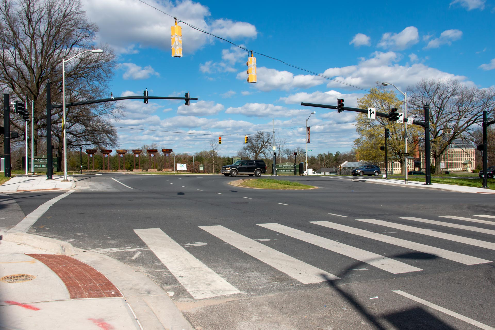Completed sidewalks at Gwynns Falls Parkway and Auchentoroly Terrace