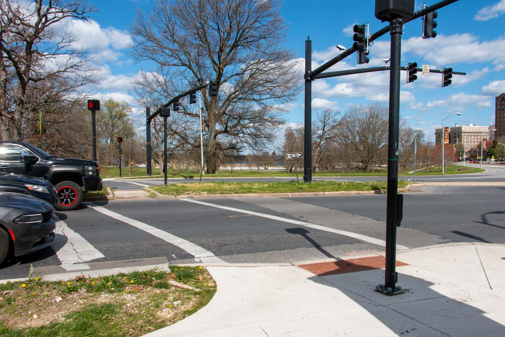 Completed sidewalk ramps and traffic signals at Druid Hill and Fulton Avenues