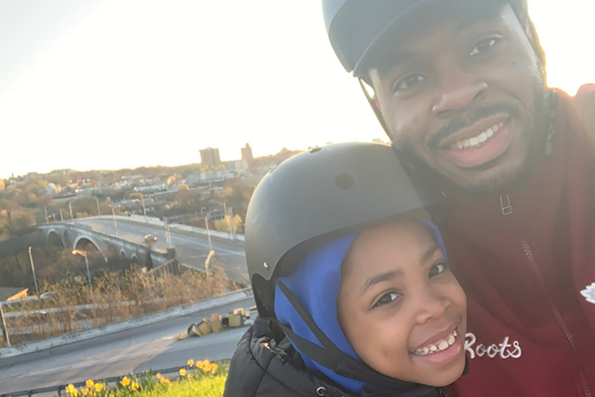 Dave Pierre and son at Druid Hill Park overlook