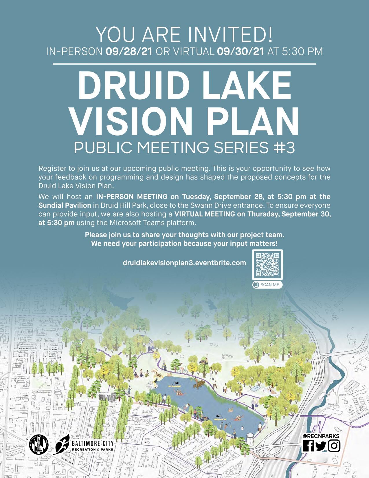Druid Lake Vision Plan Public Meeting Series #3 flyer