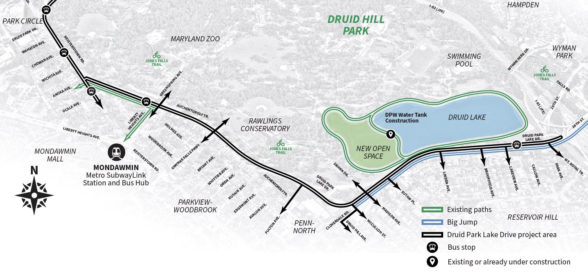 Druid Park Lake Drive Complete Streets Design Effort map
